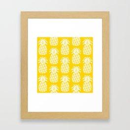 Retro Mid Century Modern Pineapple Pattern Yellow 2 Framed Art Print