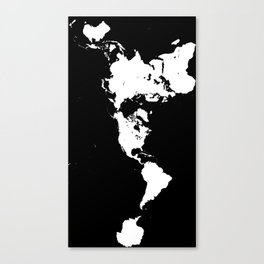 Dymaxion World Map (Fuller Projection Map) - Minimalist White on Black Canvas Print