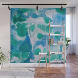 Blue and Green Wet on Wet Wall Mural