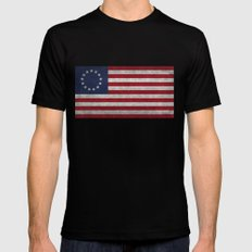 USA Betsy Ross flag - Vintage Retro Style Black Mens Fitted Tee MEDIUM