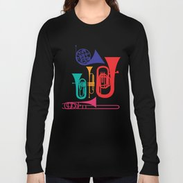 Colorful Wind Musical Instrument Musician Player Long Sleeve T-shirt
