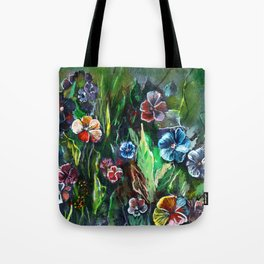 Fantasy viola flowers on a meadow - acrylic painting. Tote Bag