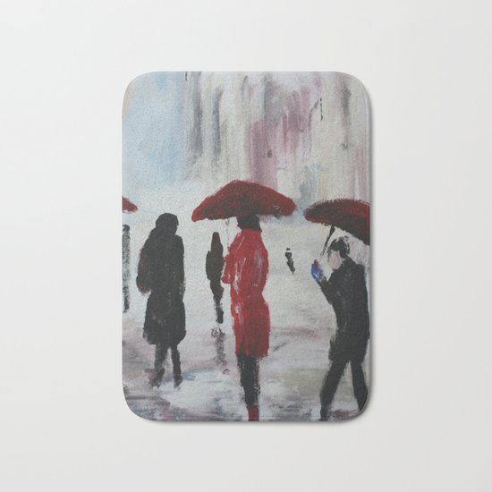 The Girl With The Red Umbrella Impressionist Fine Art Bath Mat