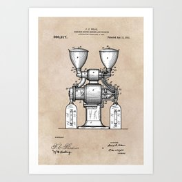 patent art Wear Combined Coffee grinder and cleaner 1911 Art Print