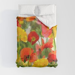 Cute poppies summer meadow watercolor painting Comforters