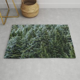 Mountain Mis // Dark Blue and Green Forest of Evergreen Pines Moody Lumberjack Dream Rug