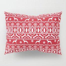 Italian Greyhound fair isle christmas snowflakes dog breed silhouette pattern gifts Pillow Sham