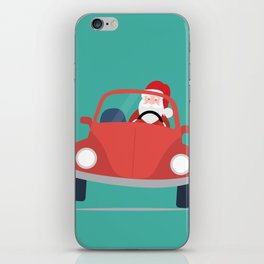 Santa Claus coming to you on his Car Sleigh iPhone Skin