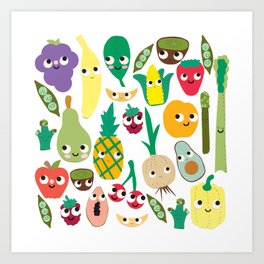 Fruit And Veggie Madness Art Print