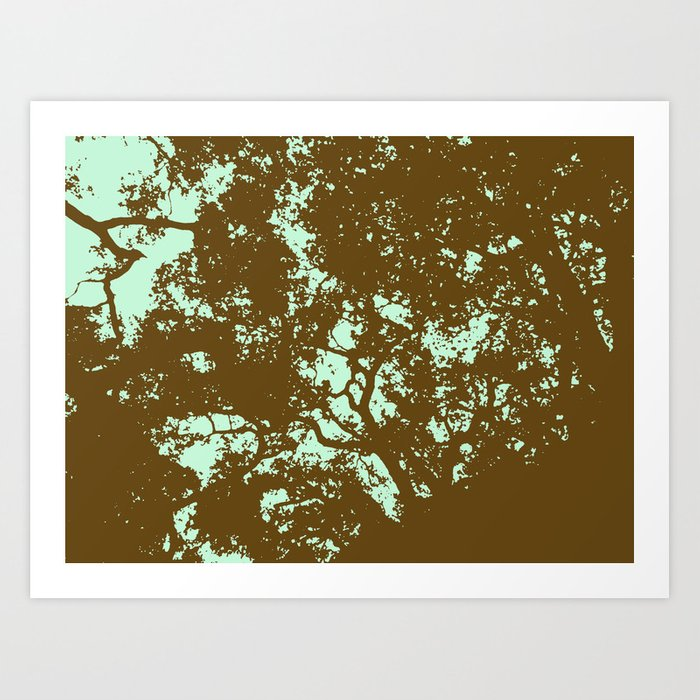 Mint and Brown Forest Art Print