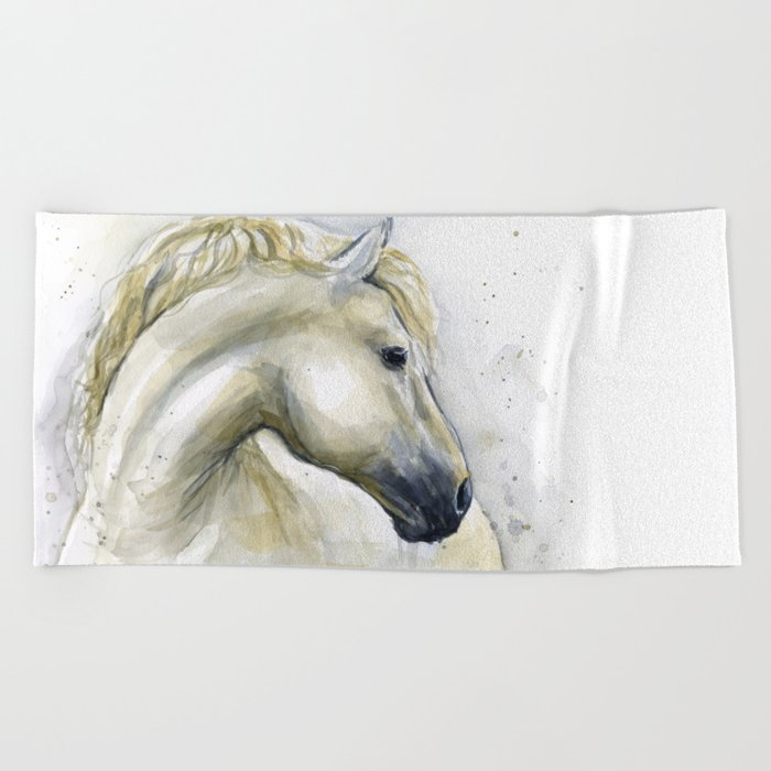 White Horse Watercolor Painting Animal Horses Beach Towel