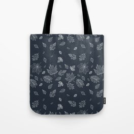 Pastel navy blue white hand painted autumn leaves Tote Bag