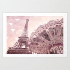Paris Eiffel Tower Pink Carousel With Hearts Wall Art Prints and Home Decor Art Print