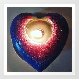 Love 1 _ burning candle heart _ blu, purple, Red _ light candles Art Print