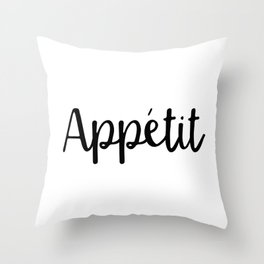 Appetit | Black and White Throw Pillow