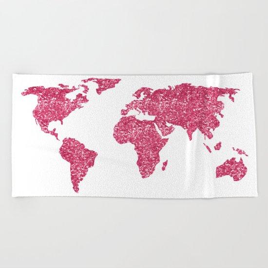World Map Hot Pink Glitter Sparkles Beach Towel