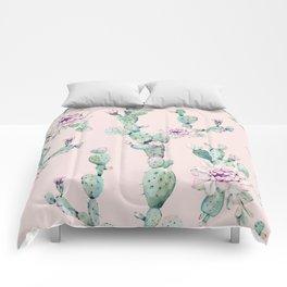 Cactus Rose Pattern on Pink Comforters