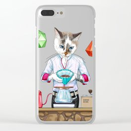 MEOWrigami coffee. AlterCATive brewing Clear iPhone Case
