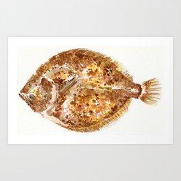 Watercolour Brill Fish Art Print