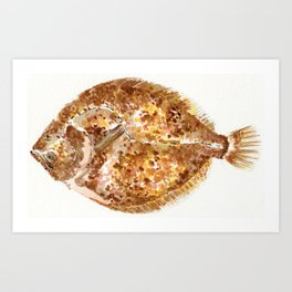 Watercolour Brill Fish Art Print