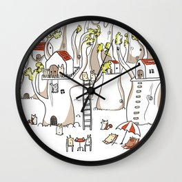 Forest animals waiting for the holidays Wall Clock