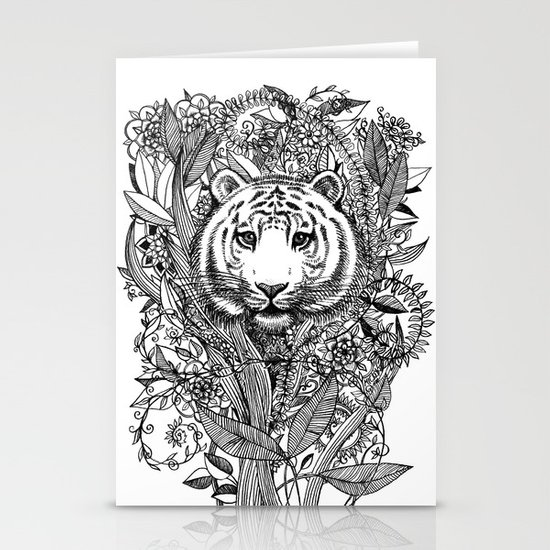 Tiger Tangle in Black and White Stationery Cards