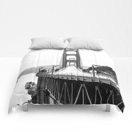 Golden Gate Bridge Black and White Comforters