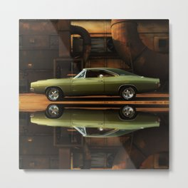 1968 Dodge Charger R/T - (Full Reflection) Metal Print