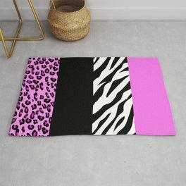 Animal Print, Zebra Stripes, Leopard Spots - Pink Rug