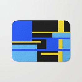 Rectangles - Blues, Yellow and Black Bath Mat