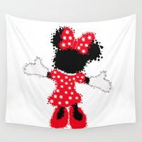 minnie Wall Tapestries featuring Minnie Mouse Paint Splat Magic by Whimsy and Nonsense