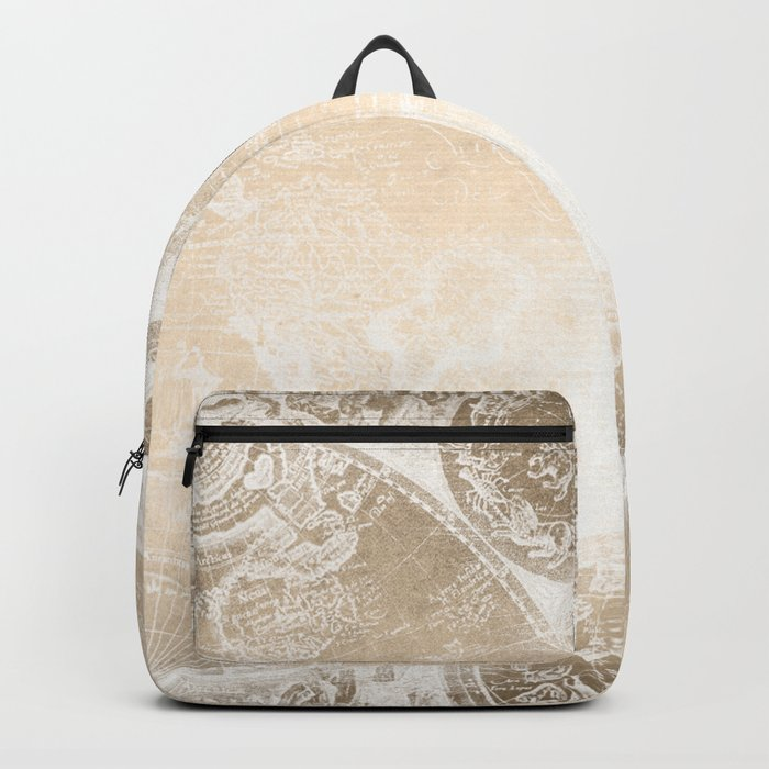Antique World Map White Gold Backpack