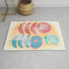 Three Flowers in Retro Style Rug