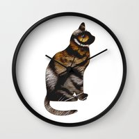 sia Wall Clocks featuring THE TIGER WITHIN by Catspaws