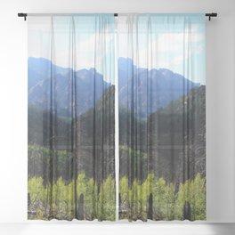Watercolor Landscape, Lost Creek Wilderness 06, Colorado Sheer Curtain