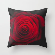 Red rose on black background vintage effect Throw Pillow