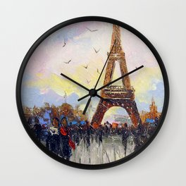 Romantic walk in Paris Wall Clock