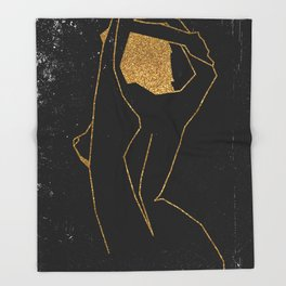 Gold Glitter Nude in One Line Throw Blanket