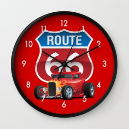 Route 66 Sign with Classic American Red Hotrod Wall Clock