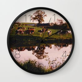 Cows in the Canal Wall Clock