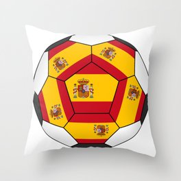 Soccer ball with Spanish flag Throw Pillow