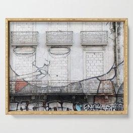 The facade's face, graffiti Serving Tray