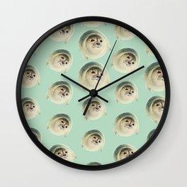 aqua green underwater cute baby sea lion seal Wall Clock