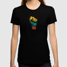Lithuanian Flag on a Raised Clenched Fist T-shirt