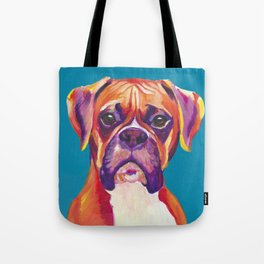 Boxer Face Blue boxer dog breed funny dog animals pets Tote Bag