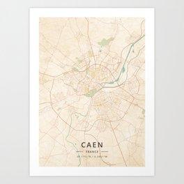 Caen, France - Vintage Map Art Print