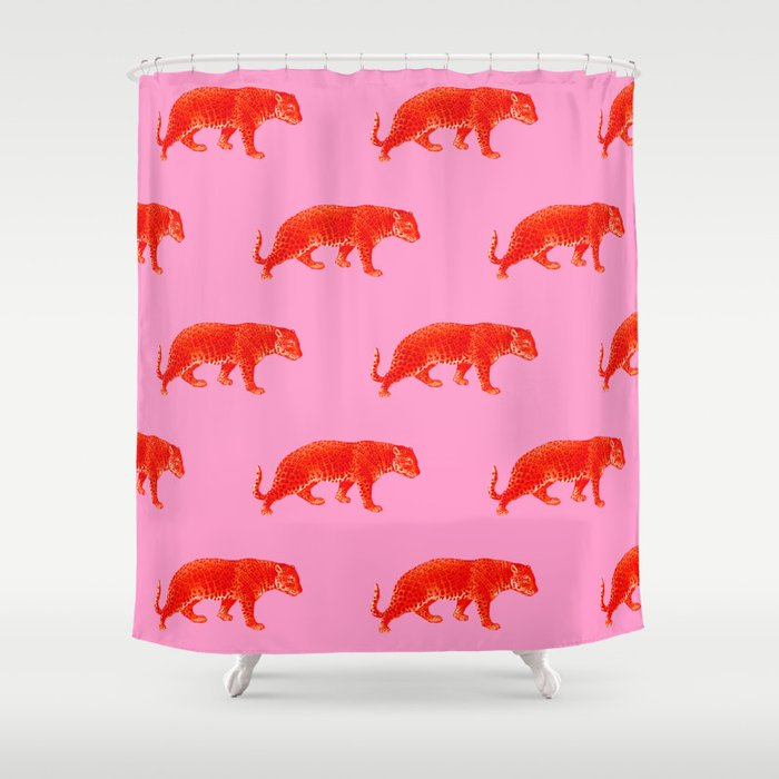 Vintage Cheetahs in Coral + Red Shower Curtain