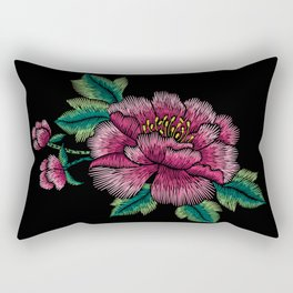 Embroidered Flowers on Black 03 Rectangular Pillow