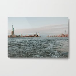 Statue of Liberty with skyline NYC with Sunset | Colourful Travel Photography | New York City (USA) Metal Print