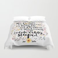 jane austen Duvet Covers featuring Jane Austen - Intolerably Stupid  by Evie Seo
